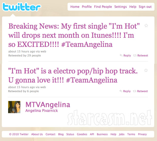 "Angelina Pivarnick announces on Twitter she will release the single ""I'm Hot"""