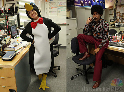 Angela in a penguin costume and Oscar in a disco costume