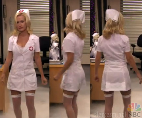 Angela Kinsey in a sexy nurse Halloween costume on The Office