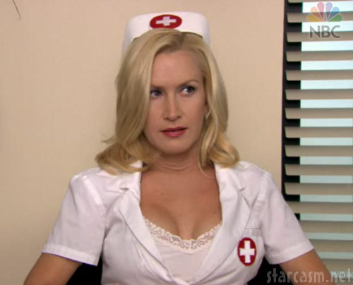 Angela from The Office as a sexy nurse