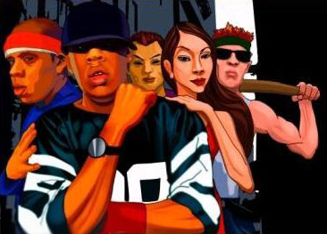 Painting of Jay-Z as a gangster from the Miami Police Department web site