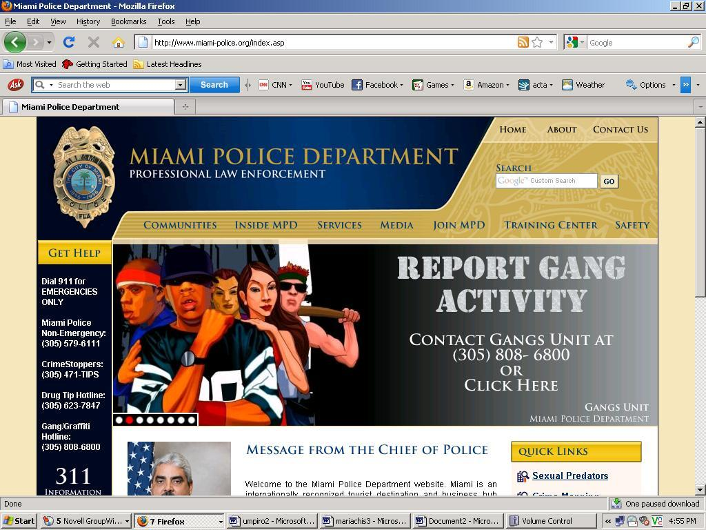 Miami Police Department web site featuring Jay-Z anti-gang banner ad