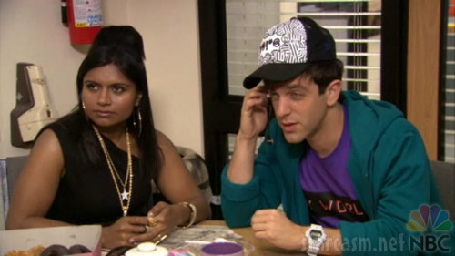 Kelly Kapoor in a Snooki costume and Ryan as Justin Bieber