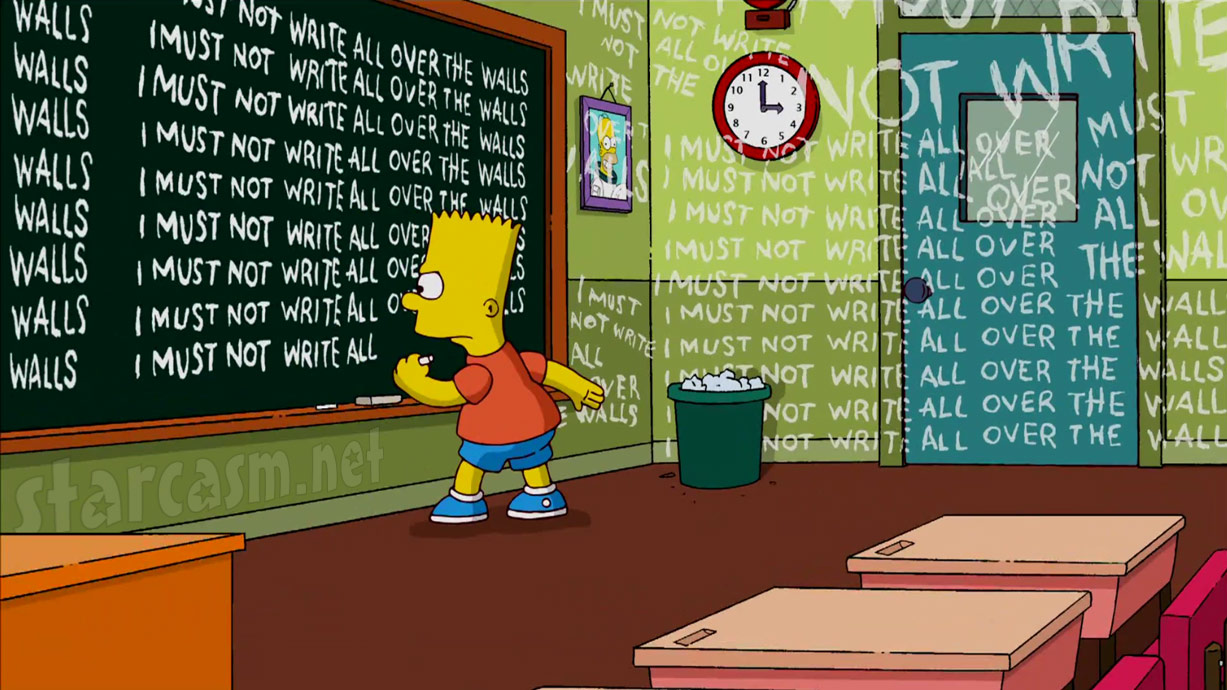 Chalkboard from The Simpsons opening credits by Banksy