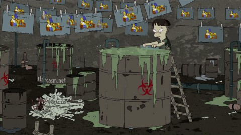 A child dips a Simpsons cartoon cell in toxic sludge by Banksy