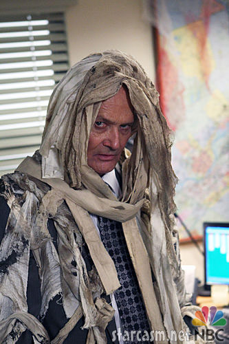 Creed from The Office dressed as a mummy for Halloween