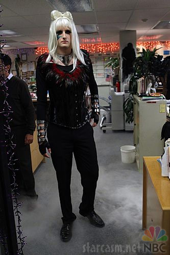 Gabe from The Office in a Lady Gaga costume