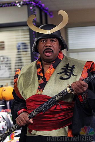 Stanley from The Office in a Samurai costume