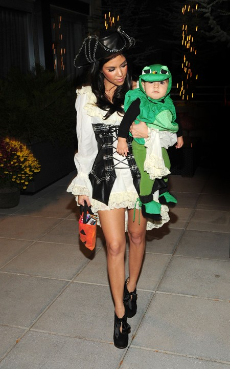 Kourtney Kardashian as a pirate and Mason as a frog for Halloween