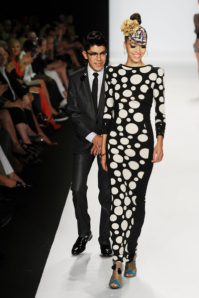 Mondo Guerra and his black and white polka dot dress from Project Runway Season 8 finale