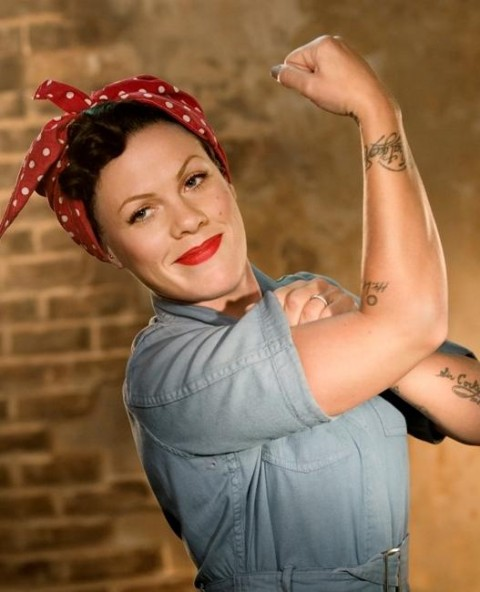 Pink as Rosie the Riveter
