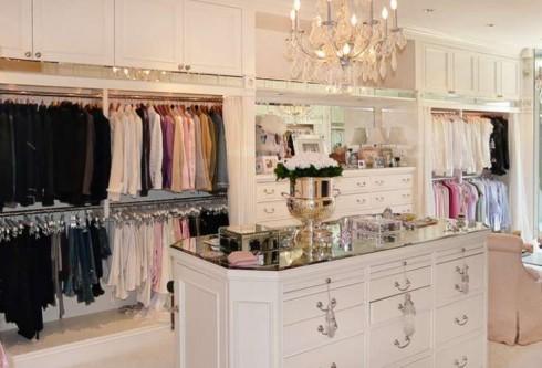 Lisa Vanderpump's massive closet and jewelry table