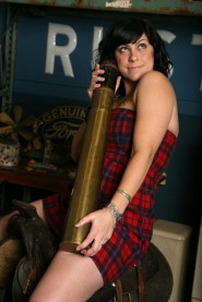 Danielle Colby Cushman poses for an America Pickers promo picture