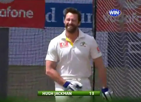 Hugh Jackman gets a crotch shot while playing Cricket