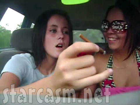 Teen Mom 2 Jenelle Evans and a friend enjoy what appears to be marijuana