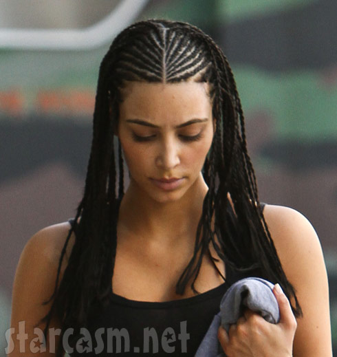 Kim Kardashian shows off her new braided corn rows