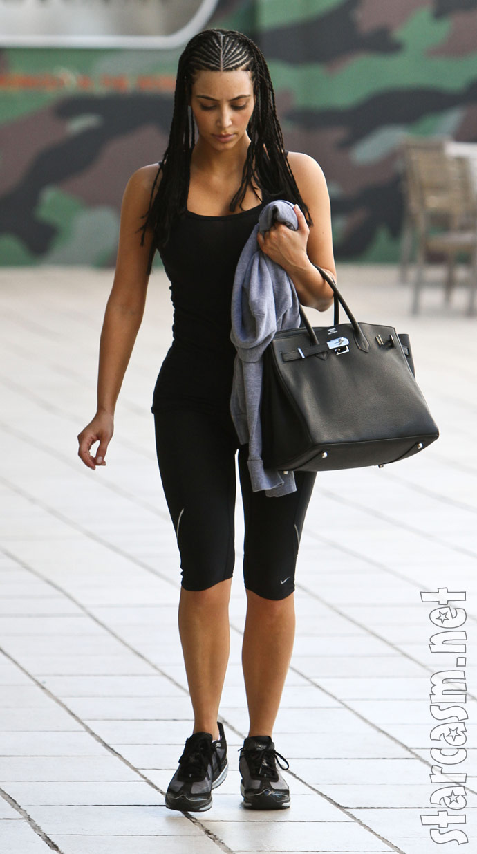 Kim Kardashian in Los Angeles with her new braided corn rows
