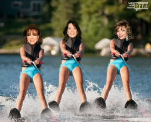 Real Housewives of Beverly Hills Lisa Vanderpump water skiing with the Collins sisters