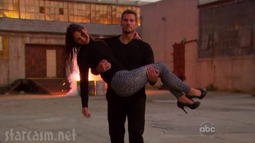 The Bachelor's Brad Womack carries Shawntel Newton to safety from an explosion
