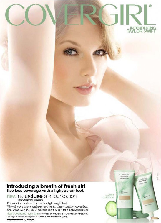 Taylor Swift CoverGirl NatureLuxe cosmetics advertisement