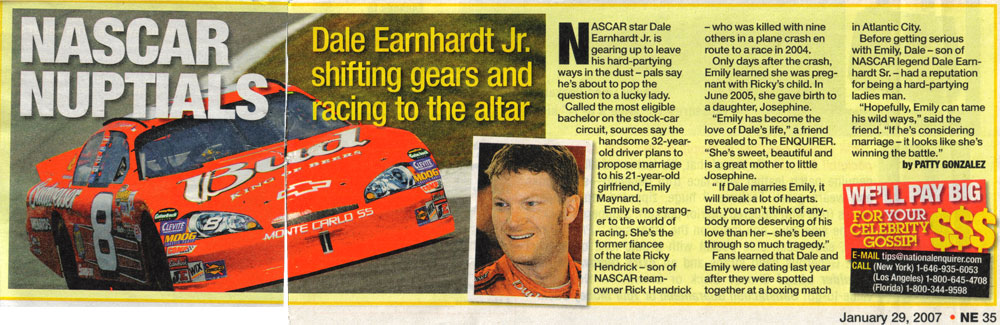 National Enquirer story claiming Dale Earnhardt, Jr. was going to propose to Emily Maynard