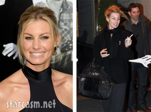 Faith Hill side-by-side comparison with or without makeup