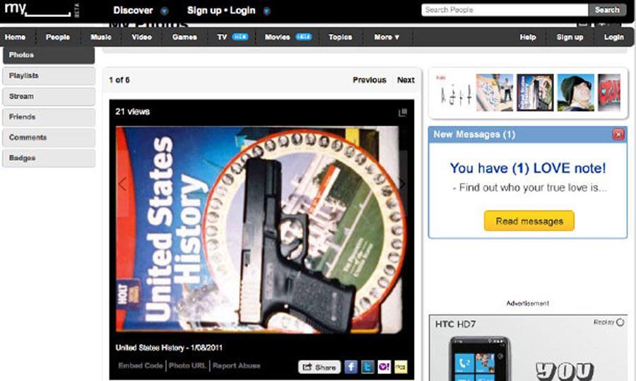 Gabrielle Giffords shooter Jared Loughner uploaded this photo of a gun to MySpace