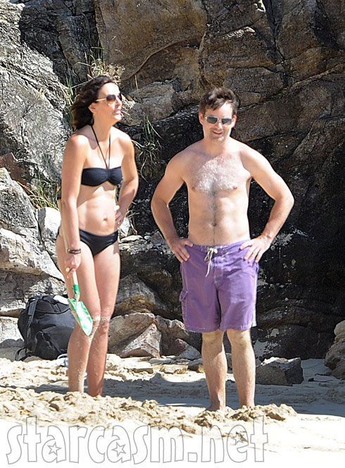 Jeff Gordon with no shirt and wife Ingrid Vandebosch in a bikini in St. Barts