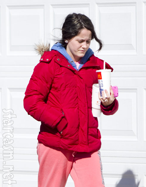 Teen Mom 2 Jenelle Evans returns from a trip to McDonald's in sweat pants and slippers