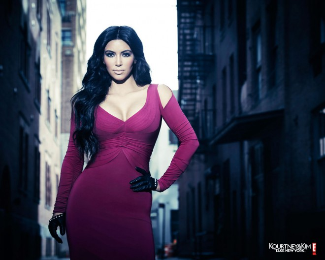 Kim Kardashian Kourtney and Kim Take New York promo photo in a fuschia dress