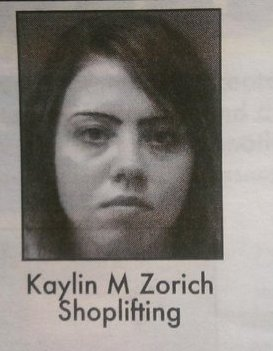 Jenelle Evans' friend Kaylin Zorich's mug shot for a shoplifting arrest