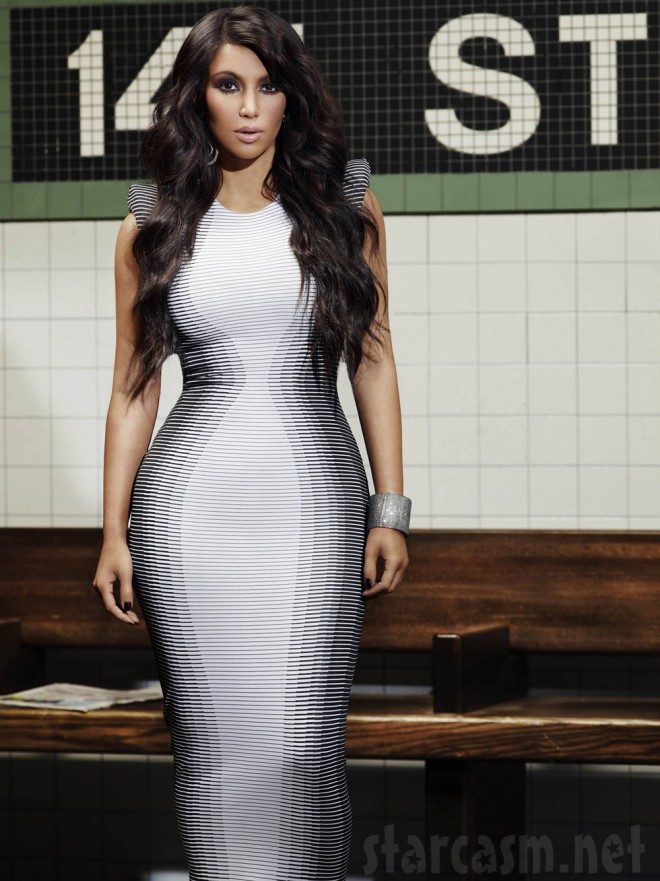 Kim Kardashian wearing a black-and-white geometric patterned dress for KKTNY