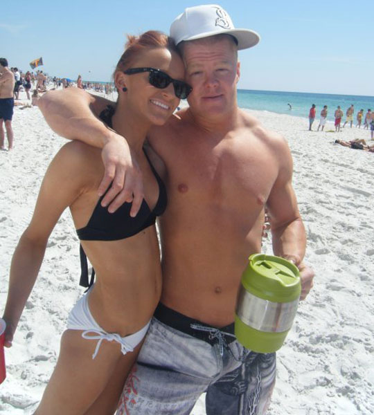 Teen Mom Maci Bookout and boyfriend Kyle King with a keg mug
