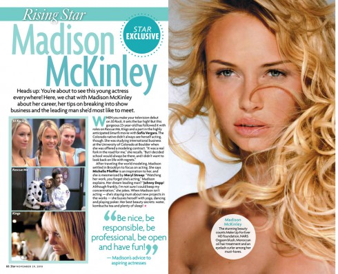 Star Magazine rising star feature on Madison McKinley from The Bachelor 15