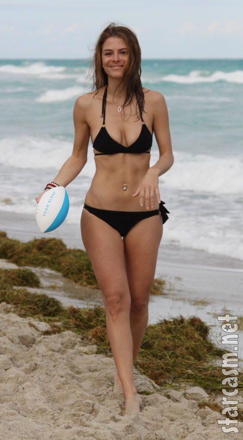 Maria Menounos models a sexy black bikini