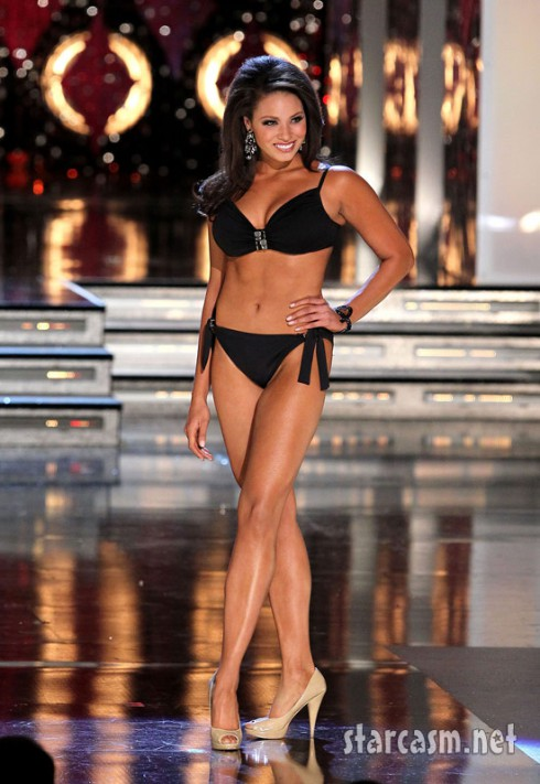 Miss Arkansas Alyse Eady shines during in a bikini during the preliminaries for the Miss America 2011 pageant.