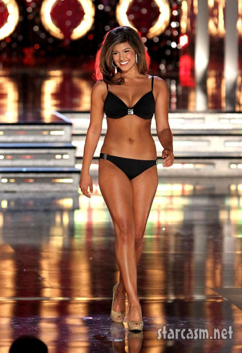 Miss California Arianna Afsar shows her bikini strut during the preliminaries for the 2011 Miss America pageant.