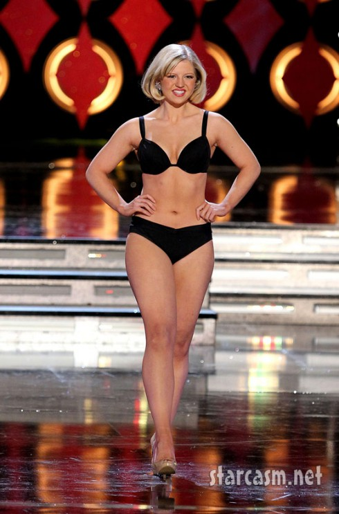 Miss Vermont Caroline Bright rehearses in a bikini for the 2011 Miss America pageant.