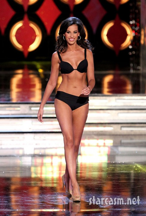 Miss District of Columbia Stephanie Williams rehearses in a bikini for the 2011 Miss America pageant.
