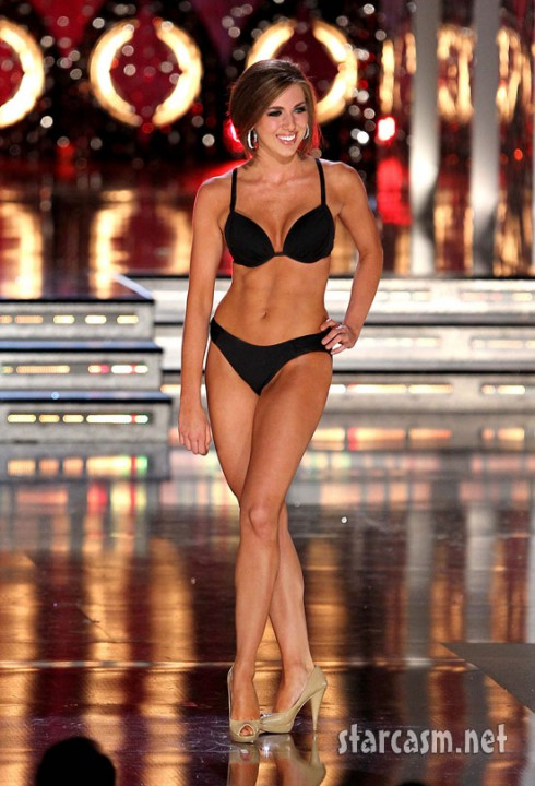Miss New York Claire Buffie gets ready for her big bikini moment during the prelims for the 2011 Miss America pageant.