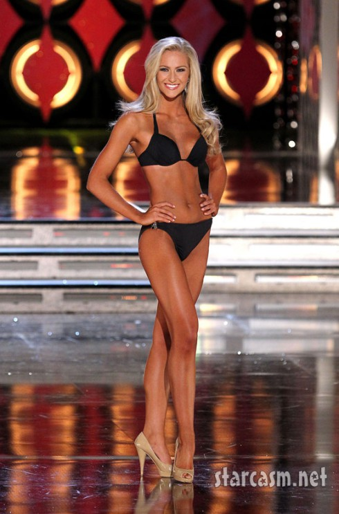 Miss Florida Jaclyn Raulerson rehearses in a bikini for the 2011 Miss America pageant.