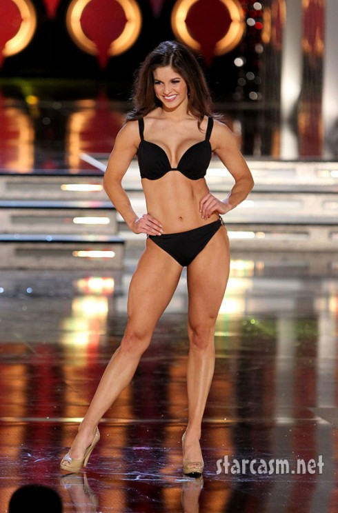 Miss Indiana Gabrielle Reed rehearses in a bikini for the 2011 Miss America pageant.