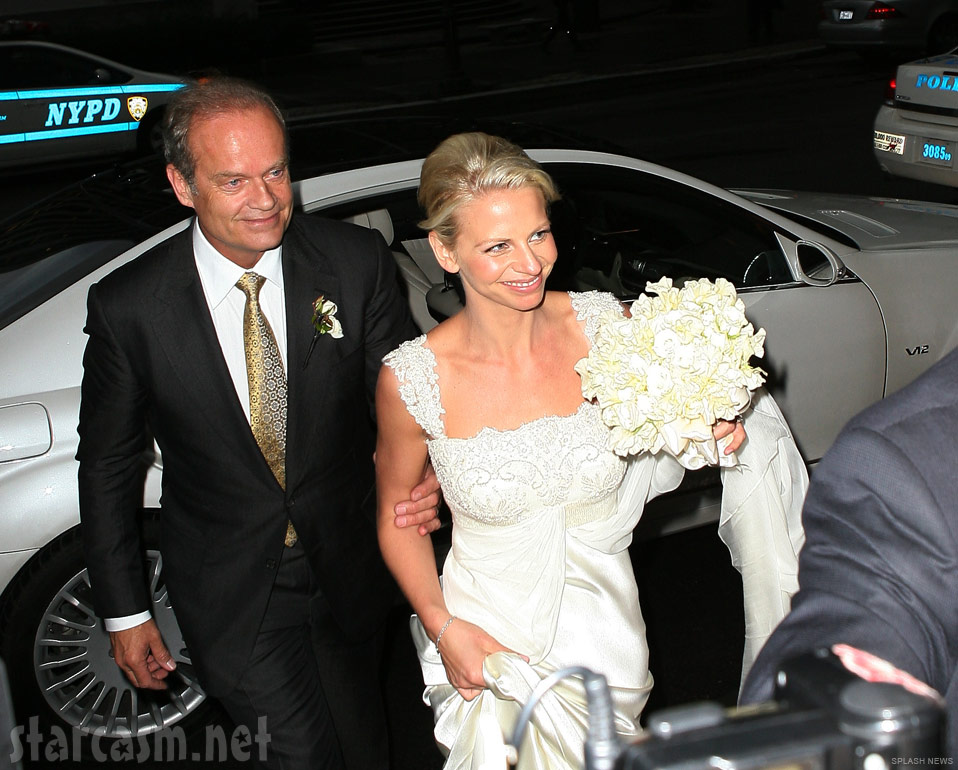 Kelsey Grammer and Kayte Walsh just after their wedding at the Longacre Theater in New York