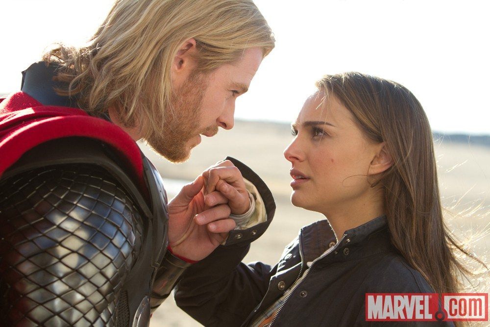 Natalie Portman as Jane Foster and Chris Hemsworth as Thor 2011
