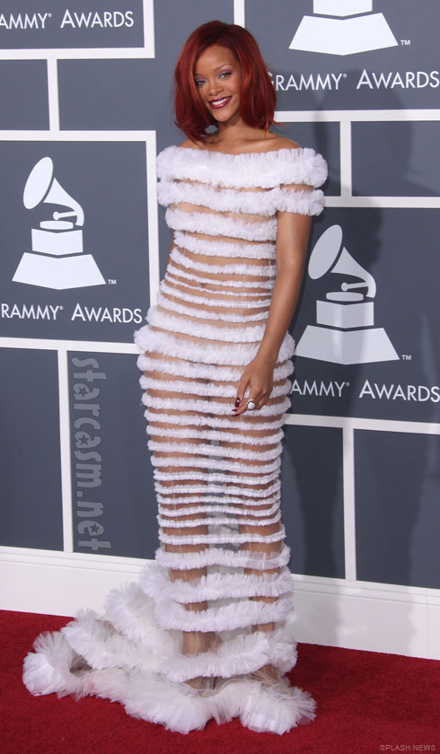 Rihanna half nude on the red carpet at the 2011 Grammy Awards