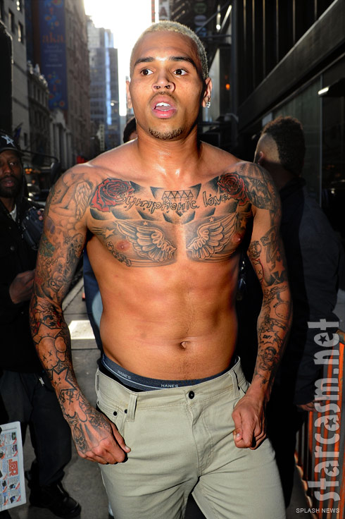 Chris Brown tattoos shirtless