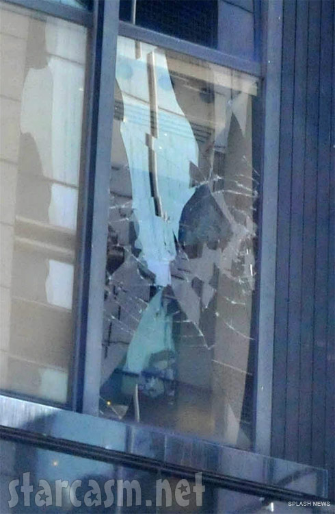 Window smashed by Chris Brown on good Morning America