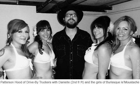Patterson Hood of Drive-By Truckers poses with Danielle Colby and Burlesque le'Moustache