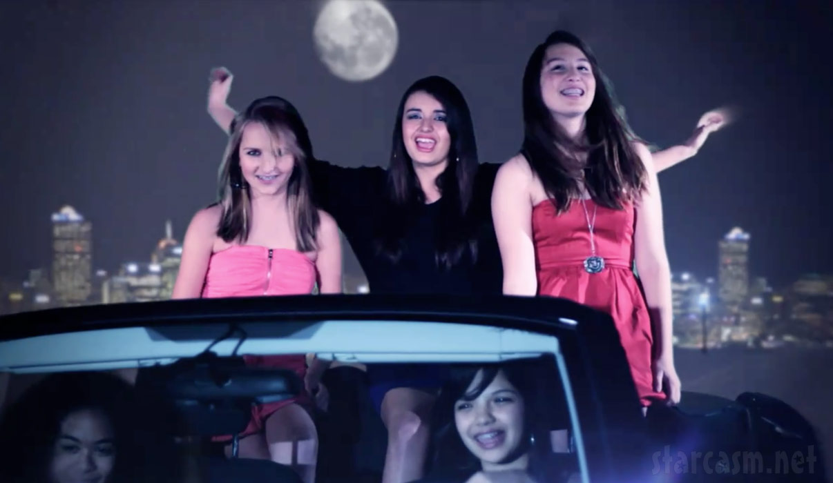 Rebecca Black in the back of a car from her Friday youtube video