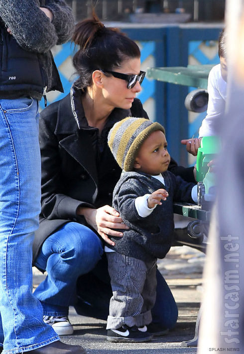 Sandra Bullock and her adopted son Louis Bardo Bullock at a playground in NYC